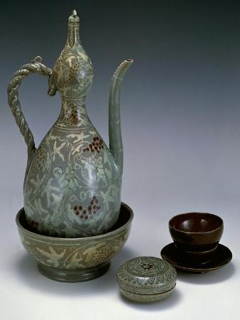 Cup Decorated with Lotus Leaves and Wine Jug Decorated with Figures of Boys Picking Grapes