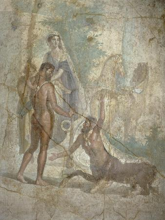 Fresco Depicting Hercules, Deianira and their Son Hyllus Crossing River Evenus, from Pompei