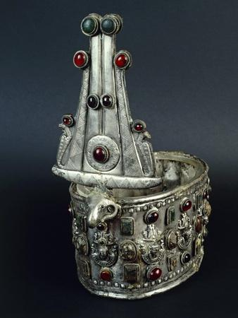 Nubia, Tomb, Royal Crown from Ballana Made of Silver with Inlaid Jewels
