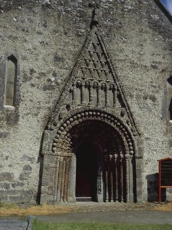 Ireland, Galway, Detail of Gothic Door of Clonfert Cathedral