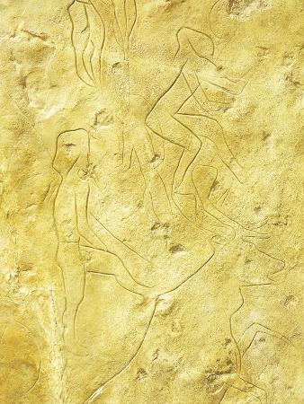 Italy, Sicily, Palermo, Cave of Addaura, Mould of Rock Engravings Depicting Deer Hunting Scene