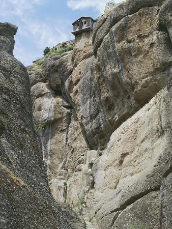 Greece, Thessaly, Meteora, Varlaam Monastery, Low Angle View