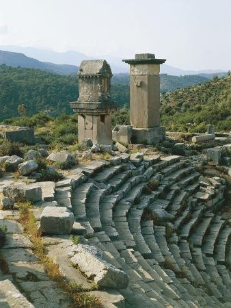 Turkey, Xanthos, Theatre Showing Stela of Harpies and Tomb