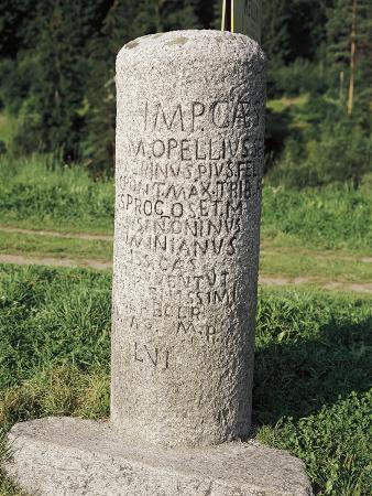 Italy, Trentino-Alto Adige Region, Brunico, Bolzano Province, Roman Mile Stone