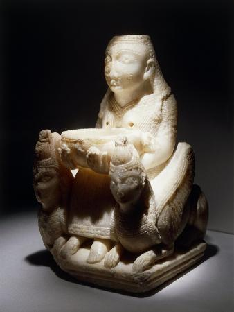 Statuette of Goddess Enthroned Between Two Sphinxes, from Granada, Spain