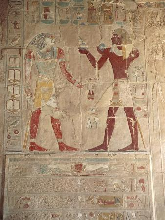 Painted Relief at Chapel of Anubis, Detail of Thutmose III Offering to Horus