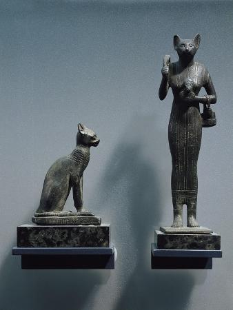 Bronze Figurines of Goddess Bastet, as a Cat or a Cat-Headed Woman