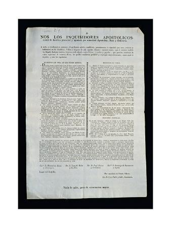 Spanish Inquisition, Document, 1807