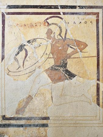 Terracotta Plaque with Armed Hoplite Running