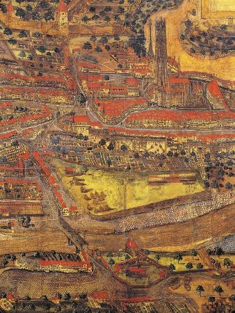 Switzerland, Freiburg, Map of City by 1582, Detail, Area of Cathedral