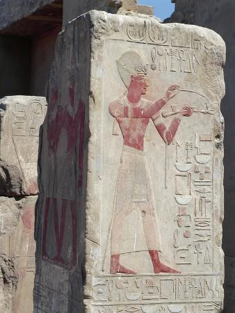 Egypt, Karnak, Painted Relief of King Burning Incense as Ritual Offering