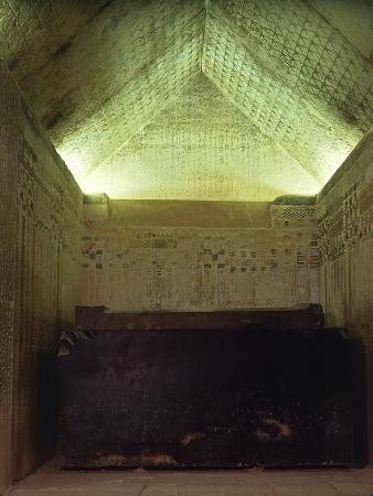 Egypt, Cairo, Mit Rahina, Decorated Burial Chamber in Unas' Pyramid at Ancient Memphis
