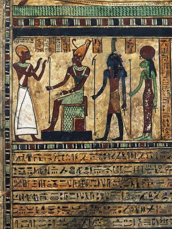 Wood Stele of Usirur, Priest of Amon at Thebes, Detail, the Deceased before Amon, Ptah and Sekhmet