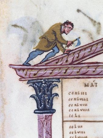 Builder Repairing a Roof, Miniature from the Ebbo Gospels
