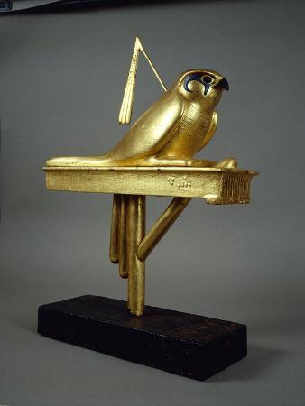 Gilded Wood Standard Depicting Gemhesu Hawk, from Treasure of Tutankhamen
