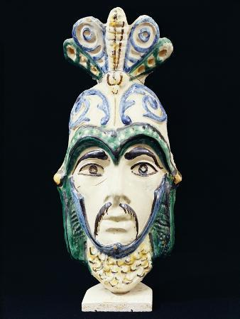 Decorative Sicilian Mask, Ceramic, Caltagirone Manufacture, Sicily, Italy
