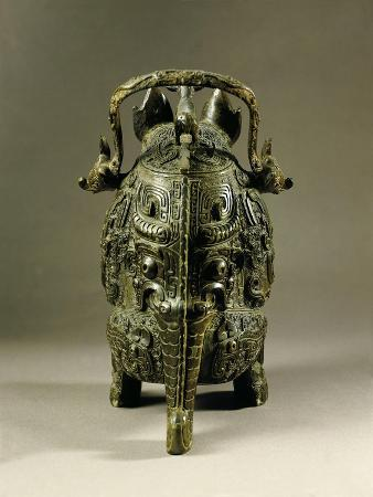 Backside of Vase known as the Tiger, Shang Dynasty, Bronze