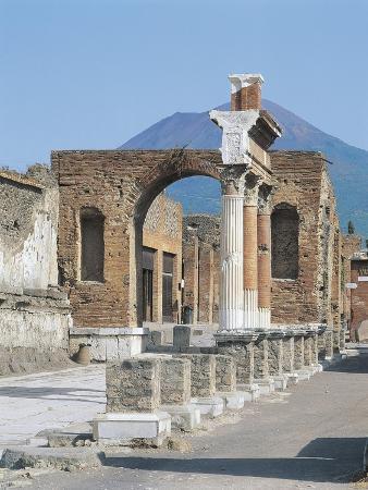 Italy, Campania Region, Pompei, Forum, Ruins of Colonnade before Macellum