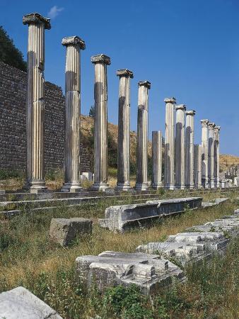 Turkey, Pergamum, North Portico and Ionic Columns