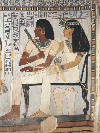 Egypt, Ancient Thebes, Shaykh 'Abd Al-Qurnah, Mural of Prince and Wife at Tomb of Senneferi