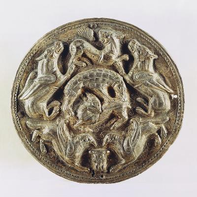 Medallion Depicting Hyenas Devouring Antelope, Gold
