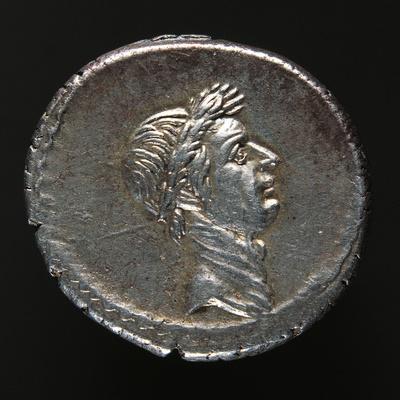Silver Denarius Bearing Image of Julius Caesar, Minted in Rome, 44 BC