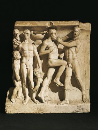 Relief Depicting Gymnasium Scene: Fighting Boxers