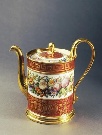 Coffee Pot with Floral Decorations, 1820-1840