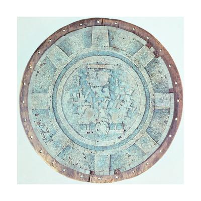 Ceremonial Wooden Circular Shield with Turquoise from Mexico