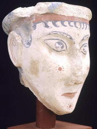 Painted Stucco Head from Mycenae, Mycenaean Civilization, 14th-13th Century BC