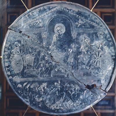 Embossed Silver Plate Depicting Theodosius and His Sons
