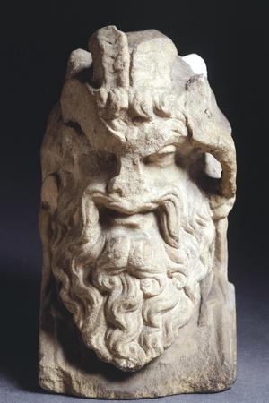 Head of Satyr, Sculpture in White Marble, 2nd-1st Century BC