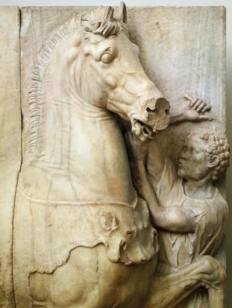 Black Squire Taming Horse, Detail of Funerary Monument from Athens, Greece