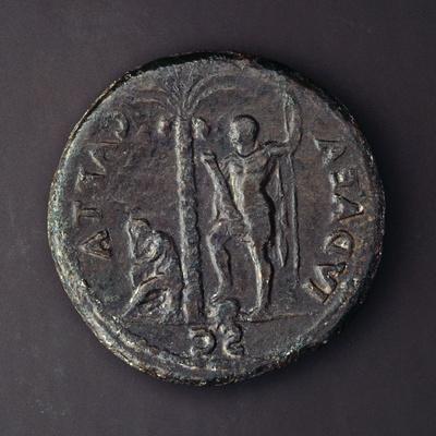 Coin Depicting Vespasian with Judaea Capta, Roman Coins AD