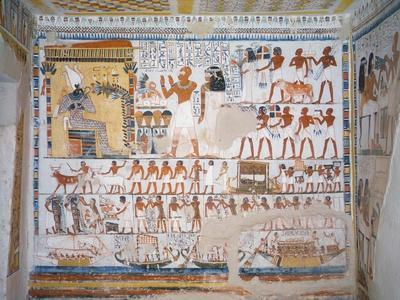 Egypt, Thebes, Luxor, Tomb of Pere Representing Deceased with His Wife Invoking God Osiris