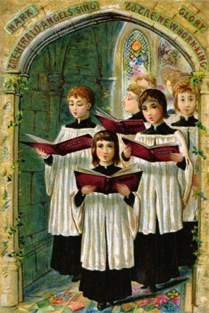 Hark the Herald Angels Sing, Victorian Postcard