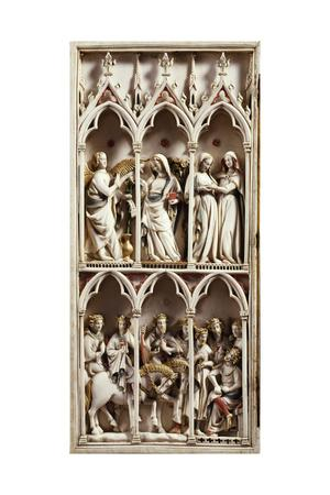 Scenes from Childhood of Christ, Valve from Diptych, Ca 1330, Carved Ivory, France