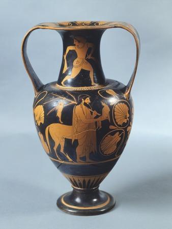 Amphora Representing Achilles with Centaur Chiron, Ca 530-510 BC