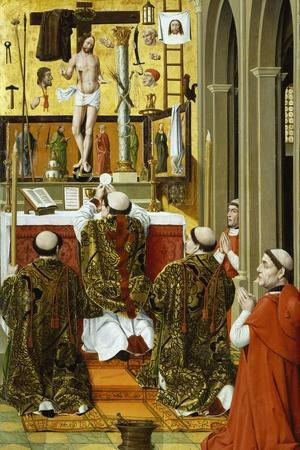 Mass of St Gregory, Detail from Convent of St Clare Altarpiece in Valencia