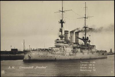 Kriegsschiff S. M. Linienschiff Preußen Im Hafen