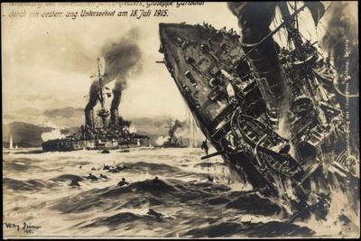 Künstler Stöwer, Ital. Kreuzer Garibaldi, U Boot, 1915