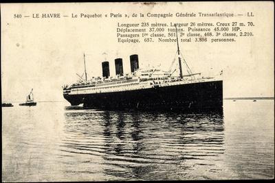 Le Havre, Paquebot Paris, Dampfschiff, French Line