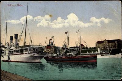 Stettin Pommern, Hafen, Dampfschiffe, Verkehr