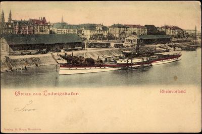 Ludwigshafen Rhein, Blick Auf Rheinvorland, Dampfer Moltke