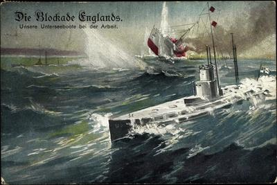 Künstler Blockade Englands, U Boot, Engl. Dampfer
