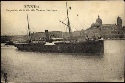 French Line, Cgt, Dampfschiff Oudjda Am Hafen
