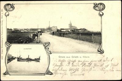 Grieth Am Rhein Kalkar, Boot, Stadtansicht