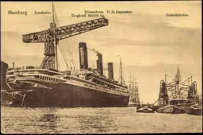 Hamburg, Rosshafen, Hapag, Dampfer Imperator, Kran