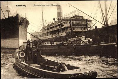Hamburg, Befrachtung Eines Dampfers, Schiff Meta