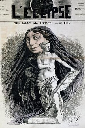 Actress Mademoiselle Agar of Odeon Theatre, Caricature on Cover of L'Eclipse, April 1868, France